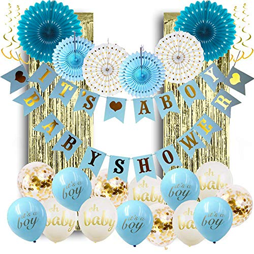 PartyPackz Baby Shower Decorations for Boy; Its a Boy Baby Shower Hollow Paper Fan Balloons Banner Gold Foil Fringe Curtain Kit for Baby Shower Party Decoration