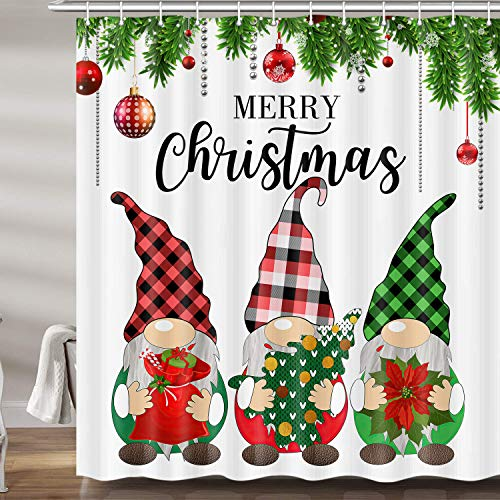 JAWO Christmas Shower Curtains for Bathroom, Christmas Gnomes Xmas Holiday Fabric Shower Curtain Set, Cute White Bathroom Accessories Decor, Hooks Included (69W X 72H)