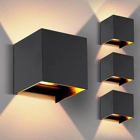 LED Wall Lights, 4 Pcs Modern Aluminium Wall Lamp with IP65 Waterproof Indoor/Outdoor 3000K, Warm White