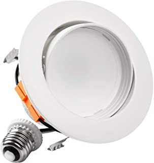 TORCHSTAR 4 Inch LED Gimbal Recessed Retrofit Downlight, 10W (65W Eqv.), CRI90+, Dimmable Directional Ceiling Light, Energy Star & UL, Offwhite Trim, 3000K Warm White, 5 Years Warranty