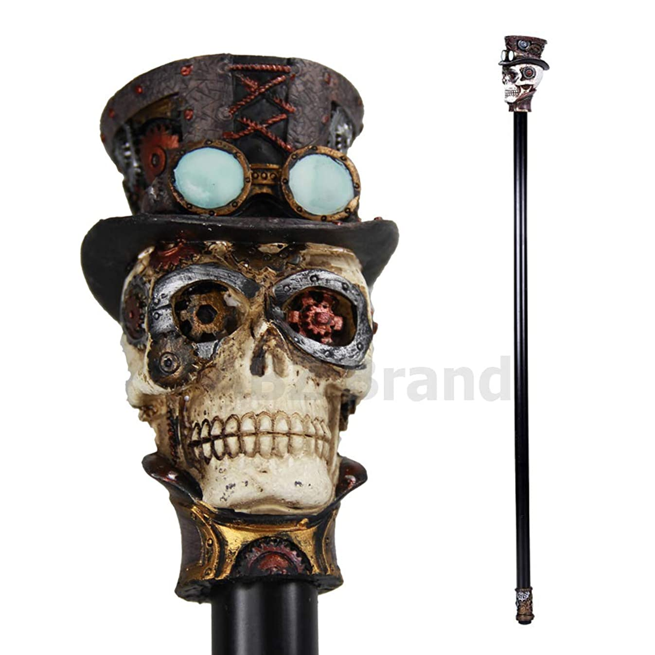ABZ Brand Steampunk Gearwork Skull Mechanical Decorative Walking Cane 36
