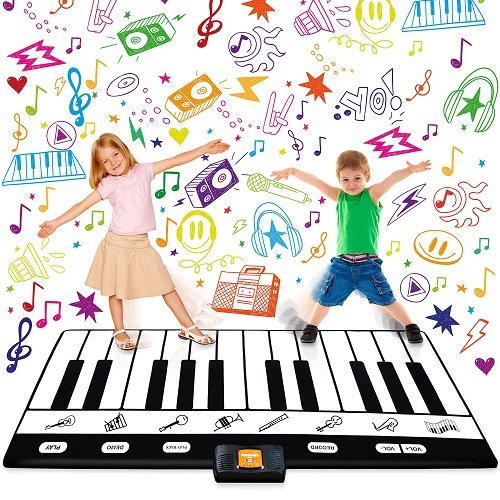 A floor keyboard play mat is a fun indoor toy for active kids to burn some energy