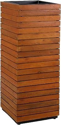 greemotion Jardinera Alta, Columna para Plantas de Madera de Acacia FSC® 100% con Inserto de Plástico, Macetero Exterior Aprox. 115 cm de Alto, Color de Madera