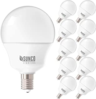 Sunco Lighting 10 Pack G14 LED Globe, 5W=40W, Candelabra Bulb, 450 LM, 5000K Daylight, Small Edison Screw Base E12, Frosted - UL + Energy Star