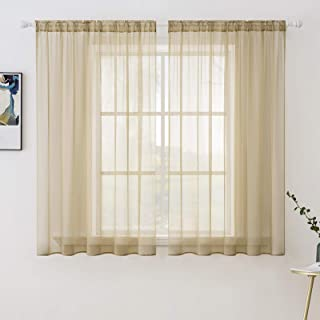 MIULEE Solid Color Sheer Window Curtains Elegant Window Voile Panels/Drapes/Treatment for Bedroom Living Room 2 Panels 54 ...