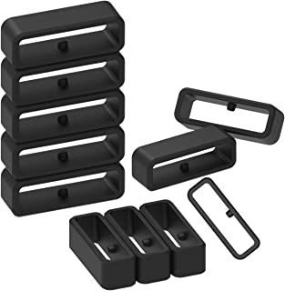 Replacement Secure Rings Compatible with Garmin Forerunner 35 Watch Bands(Pack of 10) Silicone Connector Keepers Fastener Ring Holders Loop for Forerunner 35 Smartwatch, Black