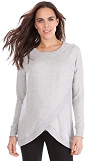 Seraphine Women's Grey Marl Crossover Maternity & Nursing Sweater