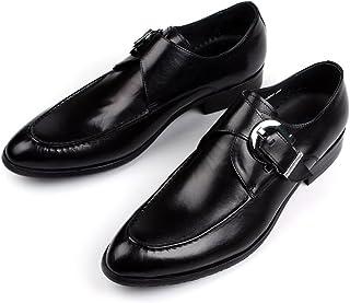 Aisxle ビジネスシューズ メンズ 本革 紳士靴 革靴 ヨーロッパ式 モンクストラップ 滑り止め 撥水 2色