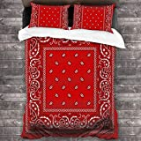zblin Bandana Red Boutique 3 Piece Bed Sheet Set All-Season Microfiber 1800, Super Soft, Comfortable and Luxurious 86x70inch Queen