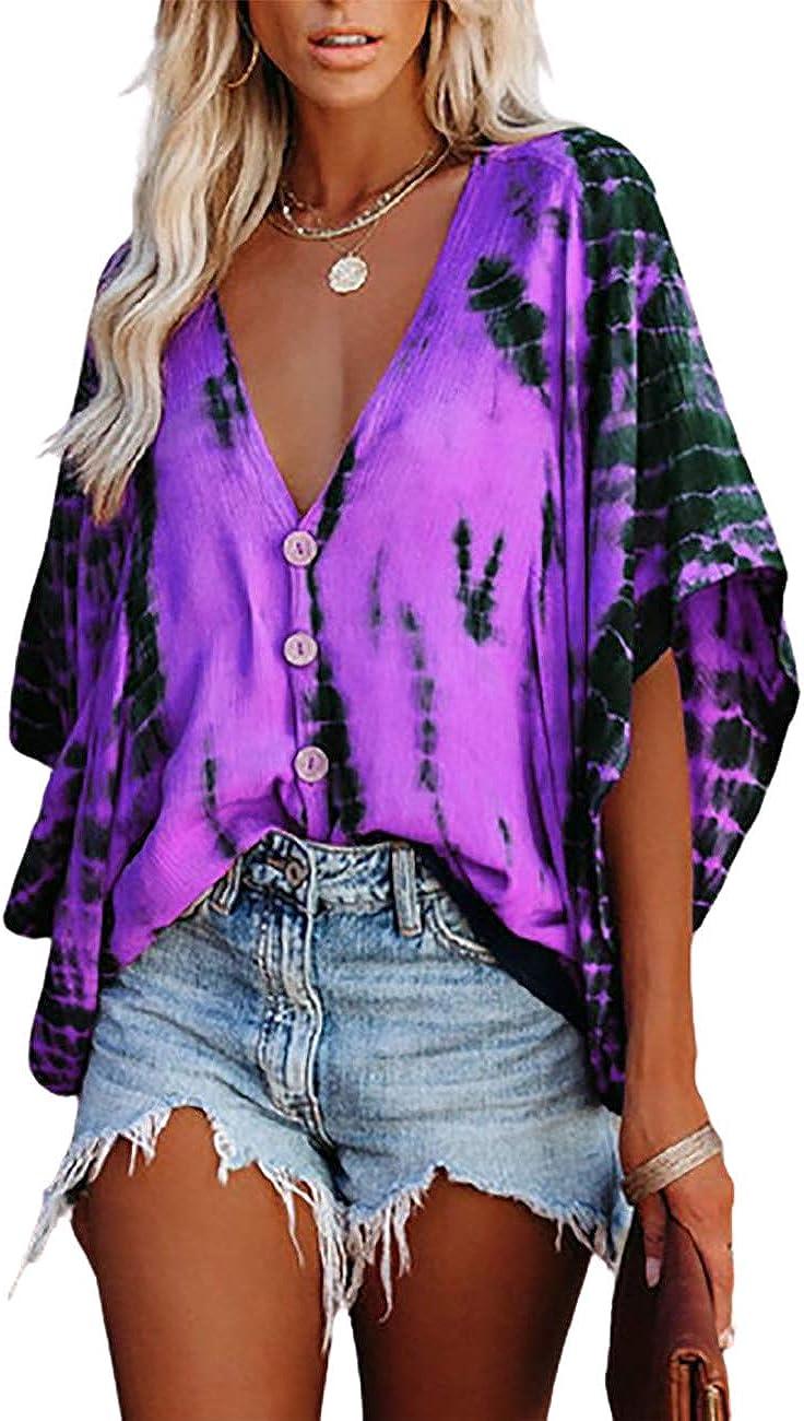CHICME Women's V Neck Tops Ruffle Half Sleeve Blouses Tie-dye Print Button Down Shirts