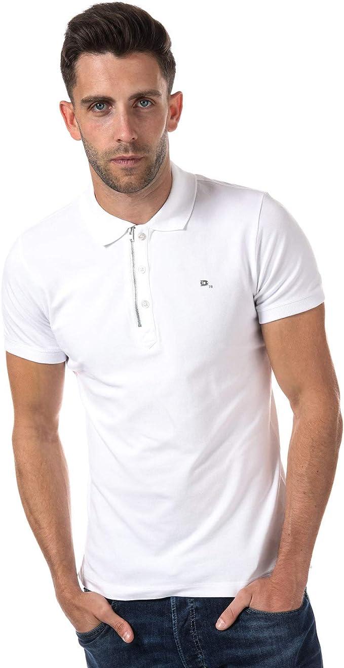 Diesel Camisa Polo con Cremallera Blanca Kalars: Amazon.es: Ropa