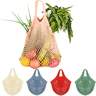 5Pcs Net Cotton String Shopping Bag, Creatiee Reusable Mesh Market Tote Organizer for Grocery Shopper Produce Storage Beach Toys Fruit Vegetable - Less Plastic(5 Colors) (Short Handle 2)