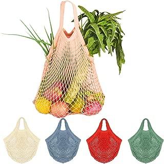 Creatiee 5Pcs Net Cotton String Shopping Bag, Reusable Mesh Market Tote Organizer for Grocery Shopper Produce Storage Beach Toys Fruit Vegetable - Less Plastic(5 Colors) (Short Handle 2)