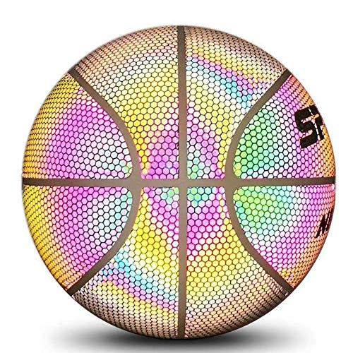 New Singa-Z Reflective Training Basketball Luminous Ball with Rainbow Light Glowing Basketball for K...