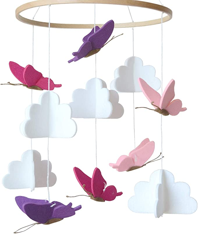 Baby Crib Mobile By Sorrel Fern Butterflies In The Clouds Nursery Decoration Crib Mobile