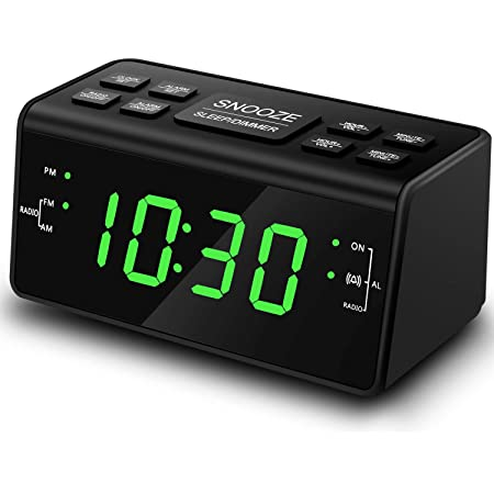 Digital Alarm Clock, Alarm Clocks for Bedrooms with AM/FM Radio,Dimmer,Snooze,Battery Backup(248Green)