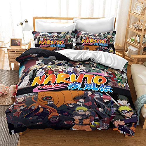 kxry Naruto Shippuden Full Size Bedding Set Japan Anime Duvet Cover Sets Soft Cartoon Pattern for Boys Kids Teens 1 Duvet Cover + 2 Pillow Shams