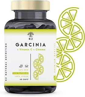 N2 Natural Nutrition Garcinia Cambogia Vitamina C-Cromo. Quemagrasas Natural Termogénico Inhibidor del apetito Adelgazante Metaboliza grasas-1150mg HCA 60% Certificado Vegano CE 120 Capsulas Vegetales