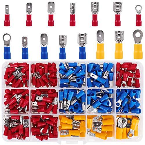 Kabelschuhe, 300 tlg. Flachstecker, Flachsteckhülsen und Ringkabelschuhe Quetschverbinder Sortiment