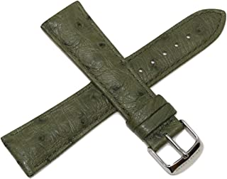 Swiss Legend 22MM Green Ostrich Leather Watch Strap with Silver Stainless Buckle fits 42mm Bellezza Watch
