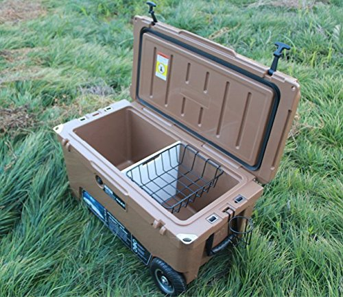 Seavilis Milee-Heavy Duty Wheeled Cooler 70QT Dark TAN ($50 Accessories Sent Free) with Hanging Wire Basket,Cooler Divider and Cup Holder.