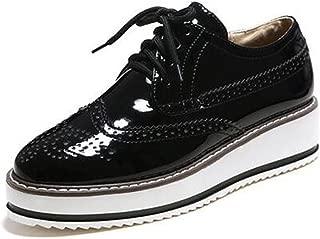 Women's Trendy Round Toe Low Top Brogues Pumps Lace-up Platform Oxfords Shoes