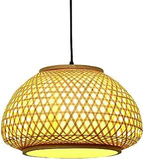Uonlytech Bambou Lanterne Pendentif Lampe En Rotin Lustre En Osier Tissé Plafond Luminaire Sud- Est Asiatique Style pour S...