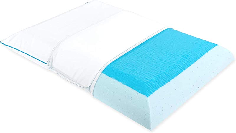 Bluewave Bedding Ultra Slim Max Cool Gel Memory Foam Pillow For Stomach And Back Sleepers Thin And Flat Therapeutic Design For Spinal Alignment Better Breathing And Enhanced Sleeping
