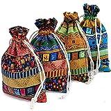 JPYH 20 Pezzi Sacchetti Juta con Coulisse, Stile Etnico Sacchetto Regalo,per Caramelle, Matrimoni, San Valentino,Monete Gioielli,DIY Craft Small Fabric Gift Bag