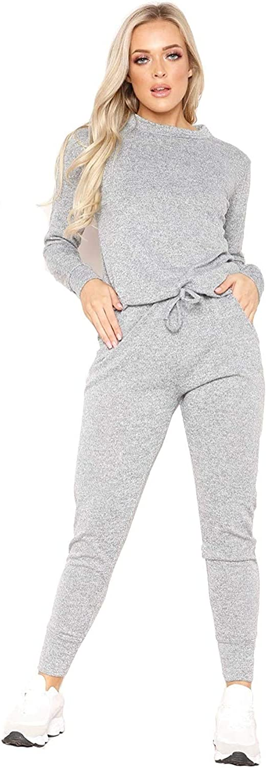 Womens Ladies Long Sleeve Plain Lounge Wear Set Casual Comfy Two Piece Tracksuit