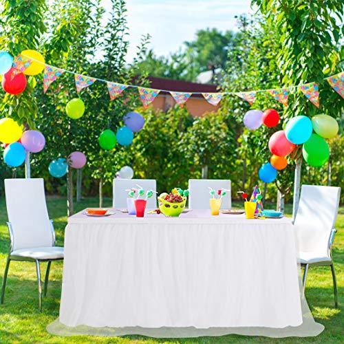PiccoCasa - Falda de mesa de tul blanco para mesas rectangulares de 1,8 m, para decoración de mesa de cumpleaños, boda, tarta, mesa de 76,2 x 182,8 cm