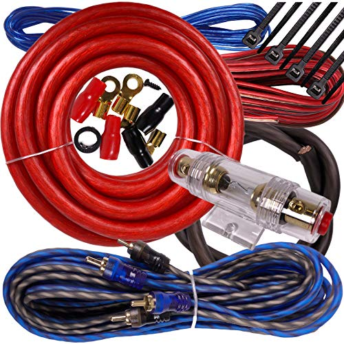 Complete 2500W Gravity 4 Gauge Amplifier Installation Wiring Kit Amp Pk2 4 Ga Red - for Installer and DIY Hobbyist - Perfect for Car/Truck/Motorcycle/Rv/ATV, 2500W / RED