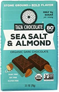 Taza Chocolate Organic Amaze Bar 80% Stone Ground, Sea Salt & Almond, 2.5 Ounce (1 Count), Vegan