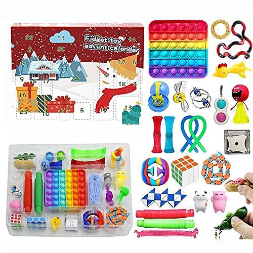 Nanga Bawa Adventskalender 2021 Fidget Adventskalender Spielzeug Pop Set, 24DAYS Weihnachten Countdown Kalender Spielzeug Weihnachten Adventskalender Blind Box Stress Relief Toys Pack