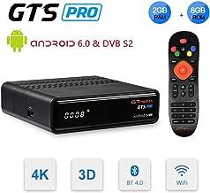 GT MEDIA GTS Pro DVB-S2 Decodificador Satélite Receptor de TV Digital & Android 6.0 Quad Core Smart TV Box Soporte FTA CC CAM New CAM Youtube, 4K 3D H.265 HD 1080P Wi-Fi Ethernet Bluetooth GT Player