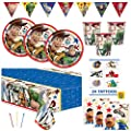 Toy Story 4 Theme Birthday Party Supplies Set - Serves 16 Guests - Includes Banner Decoration, Tablecover, Plates, Napkin, Cups, Tattoos and Candles by Unique