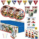 Toy Story 4 Theme Birthday Party Supplies Set - Serves 16 Guests - Includes Banner Decoration, Tablecover, Plates, Napkin, Cups, Tattoos and Candles