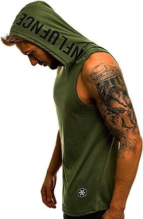 000fa13b8f0c1 Men s Fashion Solid Hoodie Tank Vest Sleeveless Sports Tank Top Shirts for  Men