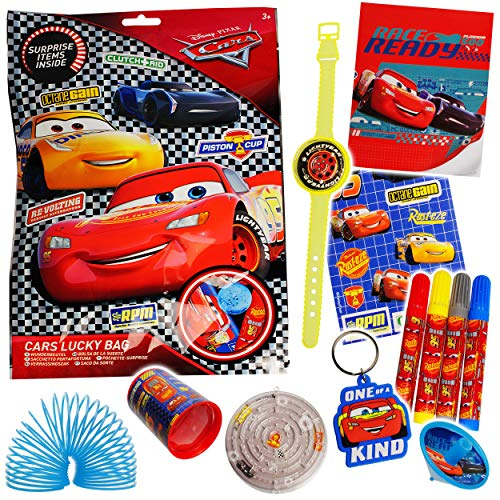 alles-meine.de GmbH 3 Stück _ XL Wundertüten & Überraschungstüten - Disney Cars - Auto - Lightning McQueen - Geschicklichkeitsspiele - Armbanduhren - Sticker - Stifte - Schlüssel..