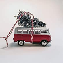 Red VW Van Christmas Ornament with Tree on Top