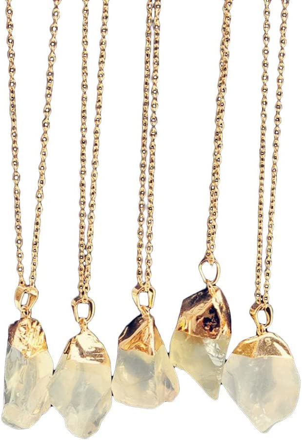 1PC WoCoo Pendant Necklace Long Sweater Quartz Natural Stone Pendant Necklace Jewelry Gifts (B)