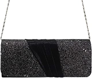 HUIfenghe Satin Stitching Glitter Ladies Party Bag Fashion European and American Style Clutch Bag Silver Gold Black Size: 24.5 * 10 * 5cm (Color : Black)