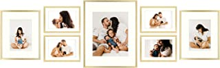 Golden State Art, Set of 7 Frames, Aluminum Metal Photo Frames with Ivory Color Mat & Real Glass, Décor Collage Frame - Color: Gold