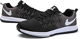 AUCDK Men Breathable Athletic Plate Shoes Casual Lace up Flat Trainers Mesh Foam Insole Jogging Sneakers