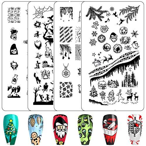 Nail Stamping Plate Nail Stamper - Christmas Nail Stamping Kit Ejiubas Nail Stamps 2PCS Double-Sided Halloween Nail Stamping Plates X19X20