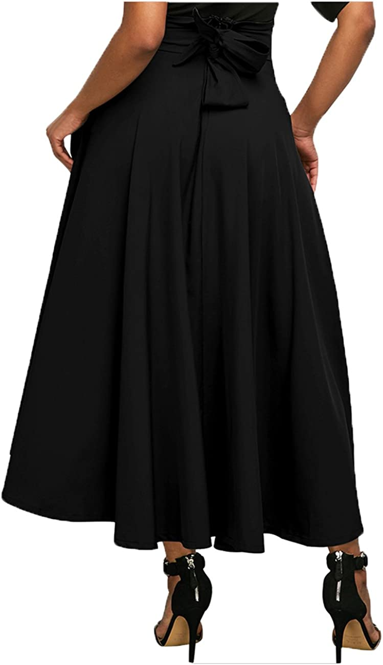 shushuKISS Womens Casual High Waist Front Slit Belted A-Line Pleated Midi Maxi Skirt