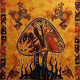 Tagesdecke Mushroom orange bunt 230 x 200 cm Überwurf indische Decke Vorhang Baumwolle