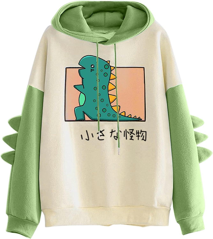 T Shirts for Teen Girls, Women's Casual Animal Cute Emo Dinosaur Shirt Drawstring Hoodie Long Sleeve Tops Black