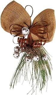 Needzo Door Hanging Burlap Bow with Silver Tone Jingle Bells Decoration, 15 Inch