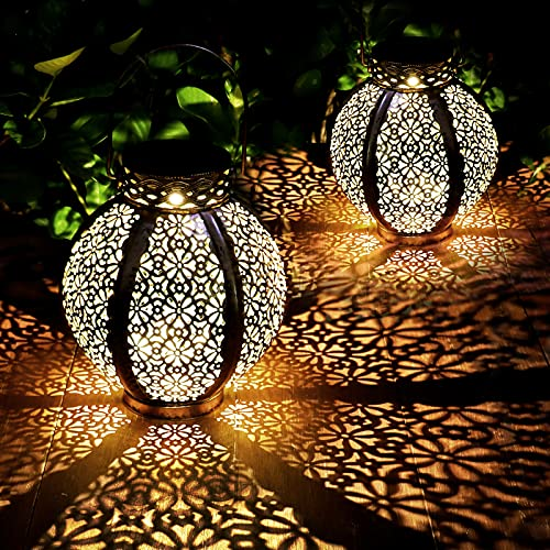 2 Pack Farol Solar Exterior Jardin LED Lámpara Solar Jardín Luz Solar Exterio Luces de Linterna Solar Lámpara de Decoración Luces Decorativas para Jardin Terraza Patio Camping Camino